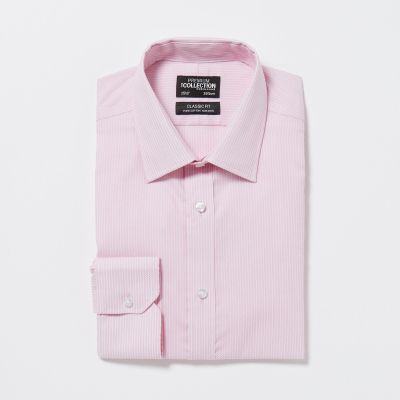The Collection Pink Non Iron Textured Stripe Cotton Long Sleeves Classic Fit Shirt