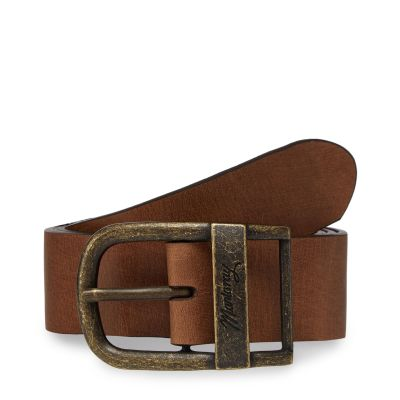 Mantaray Brown Leather Oval Buckle Belt