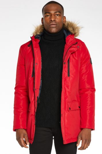 Quizman Hooded Parka Jacket in Red