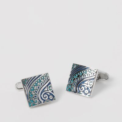 The Collection Blue Paisley Square Cufflinks