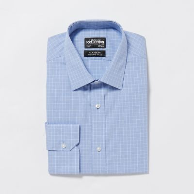The Collection Blue Non Iron Fine Check Cotton Long Sleeves Classic Fit Shirt