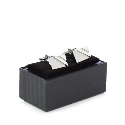 The Collection Silver rectangle cufflinks in a gift box
