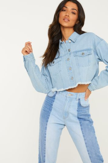 Quiz Blue Washed High Waist Ripped Knee Mom Jeans