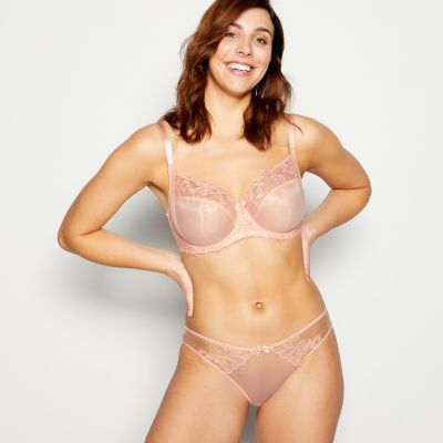 Gorgeous DD+ Pale Peach 'Katie' Embroidered Underwired Non-Padded Balcony Bra