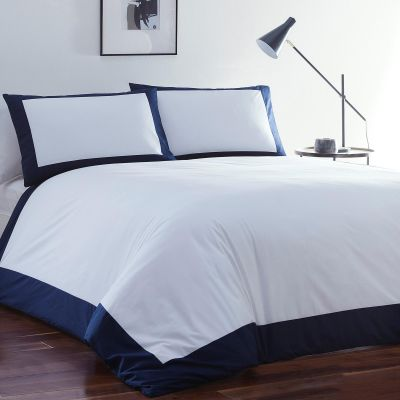 J by Jasper Conran White and Navy Cotton 'Box Bed' Duvet Cover