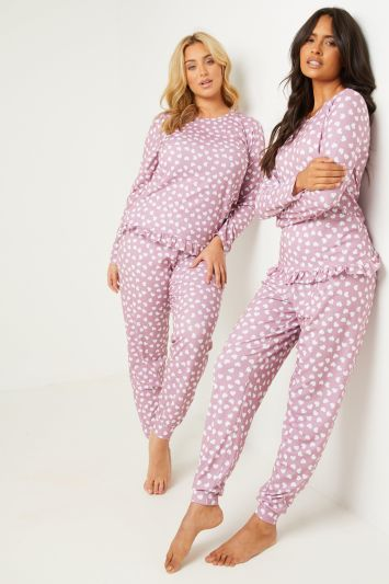 Quiz Pink and White Heart Print Long Sleeve Top Trouser Pj Set