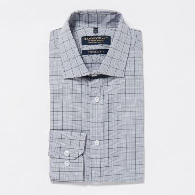 Hammond & Co. by Patrick Grant Grey Easy Iron Prince of Wales Check Cotton Long Sleeves Tailored Fit Shirt