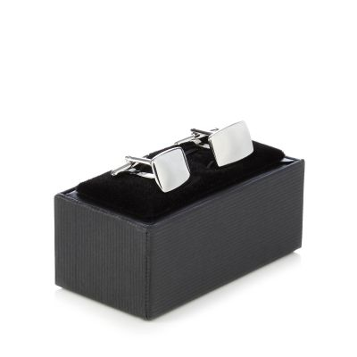 The Collection Silver Rounded Rectangle Cufflinks In A Gift Box