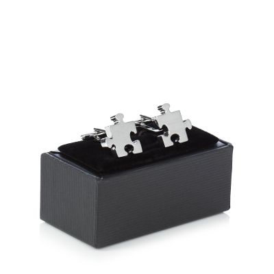 The Collection Silver jigsaw cufflinks in a gift box