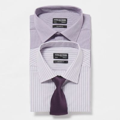 The Collection Pack Of Two Purple Striped Tailored Fit Shirt