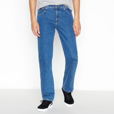 Wrangler Mid Blue Mid Wash 'Texas Green Bay' Straight Fit Jeans