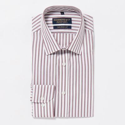 Hammond & Co. by Patrick Grant Wine Striped Cotton Long Sleeves Tailored Fit Shirt