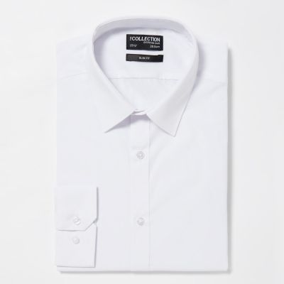 The Collection White Easy Iron Long Sleeve Slim Fit Shirt