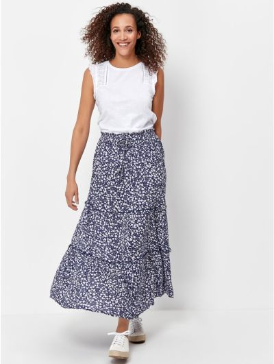 Mandco Tiered Floral Maxi Skirt