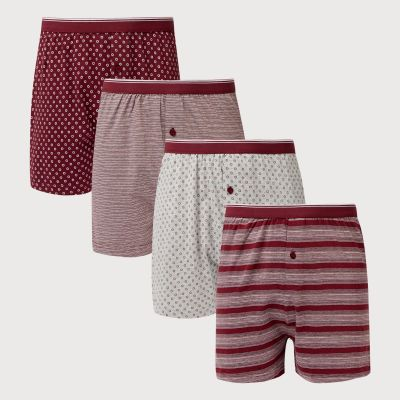 Debenhams 4 Pack Wine Spotted Button Boxers