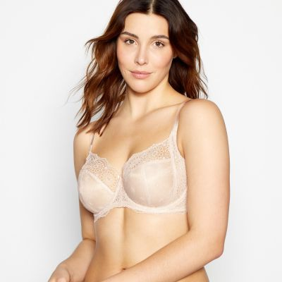Gorgeous DD+ Pale Pink Broderie Underwired Non-Padded Balcony Bra