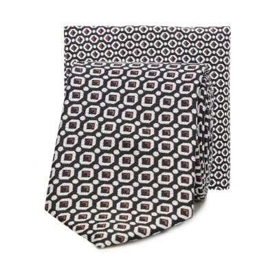 Red Herring Multicoloured Geometric Skinny Tie and Pocket Square Set
