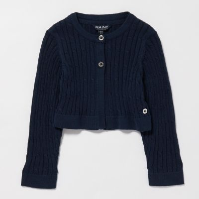 Maine New England Girls' Navy Cable Knit Cotton Cardigan