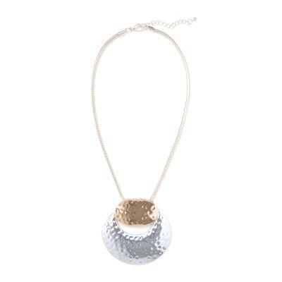 Phase Eight Metallic Pippa Hammered Circle Short Pendant Necklace