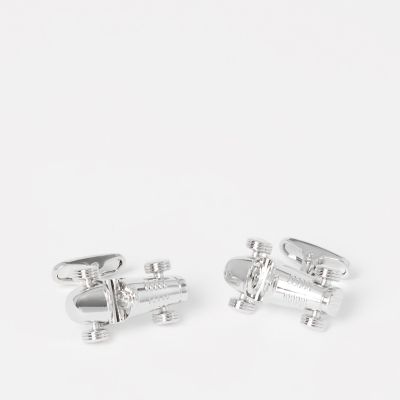The Collection Silver Racecar Cufflinks