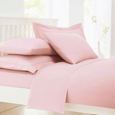 Debenhams Pale Pink Cotton Rich Percale Fitted Sheet