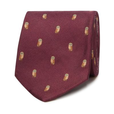 Hammond & Co. by Patrick Grant Wine Silk Owl Embroidered Tie