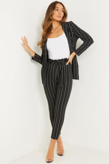 Quiz Black and White Stripe Paperbag Waist Trousers