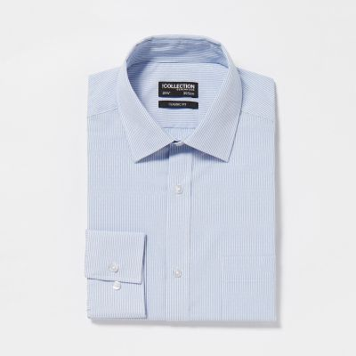 The Collection Light Blue Striped Easy Iron Long Sleeves Classic Fit Shirt
