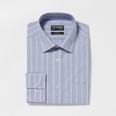 The Collection Blue Striped Long Sleeves Classic Fit Shirt