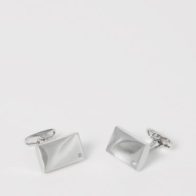 The Collection Silver Stone Tie Bar and Cufflinks