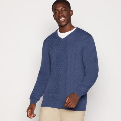 Maine New England Blue Cable Knit Cotton Jumper