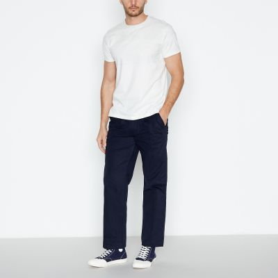 Hammond & Co. by Patrick Grant Navy Two Pleat Wide Leg Chinos