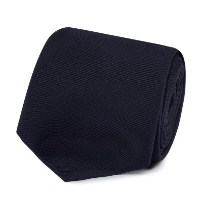 The Collection Navy ribbed slim silk tie