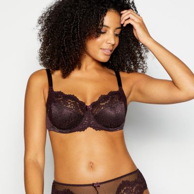 Gorgeous DD+ Chocolate Lace 'Animal' Underwired Non-Padded Balcony Bra