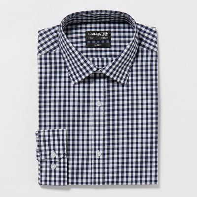 The Collection Navy Gingham Long Sleeves Slim Fit Shirt