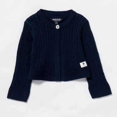 Maine New England Baby Girls' Navy Cable Knit Cotton Cardigan