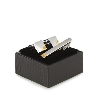 The Collection Silver textured cufflinks and tie bar