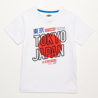 bluezoo Boys' White Cotton 'Awesome Tokyo' Printed Short Sleeve T-Shirt