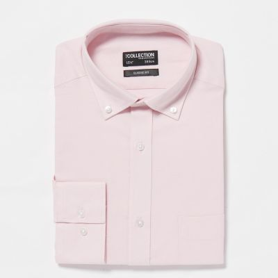 The Collection Pink Cotton Long Sleeve Classic Fit Oxford Shirt