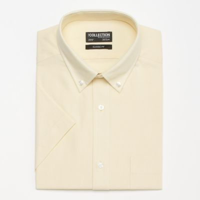 The Collection Yellow Plain Oxford Button Down Cotton Short Sleeve Classic Fit Shirt