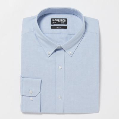The Collection Blue Cotton Long Sleeve Slim Fit Oxford Shirt