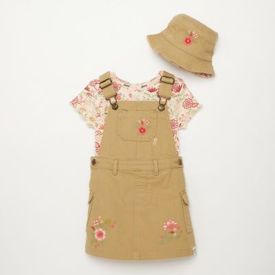 Mantaray Girls' Natural Embroidered Twill Pinafore Set With Hat