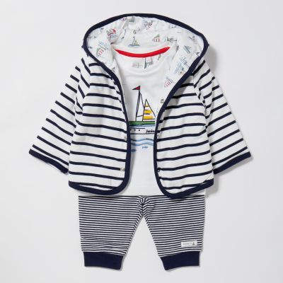 J by Jasper Conran Baby Boys' Navy Striped Hoodie, Top and Bottoms Set