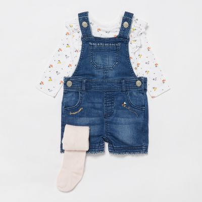 bluezoo Baby Girls' Blue Denim Short Dungarees, Top and Tights Set