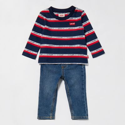 Levi's Baby Boys' Blue Striped Top and Jeans Set