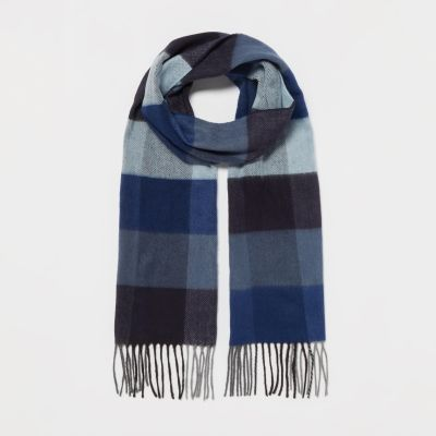 1778 Navy Large Check Print Knitted Scarf