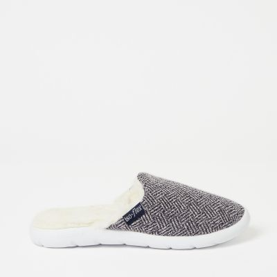 Totes Navy Waffle Textured Mule Slippers