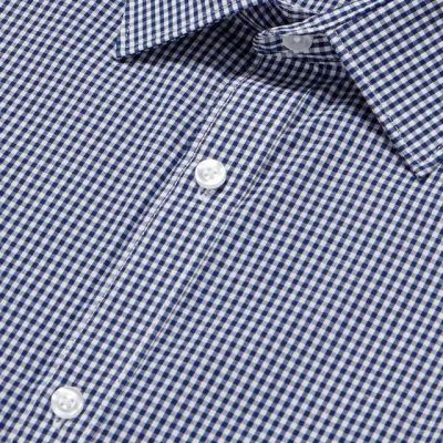 The Collection Navy Easy Iron Gingham Check Long Sleeve Slim Fit Shirt