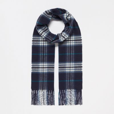 1778 Navy Highland Plaid Knitted Scarf