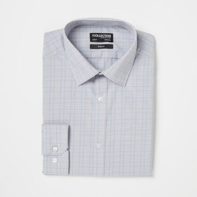 The Collection Blue Prince of Wales Check Long Sleeve Slim Fit Shirt